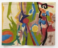 A large colorful wool tapestry hangs against a white gallery wall. An olive green dominates the scene, along with a soft, fading mauve. Strokes of burnt orange, a sea blue, golden yellow, valentine red, all collide. There are purple line-shapes in the middle, some black ones to the right. It compliments the simultaneous vibrant and subdued tones of the letter accompanying it in this post.